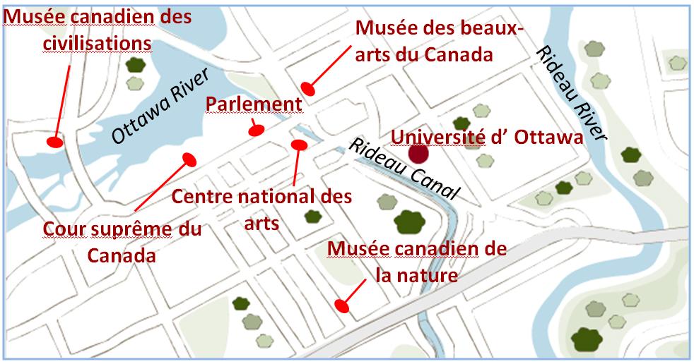 Carte géographique du centre-ville d'Ottawa
