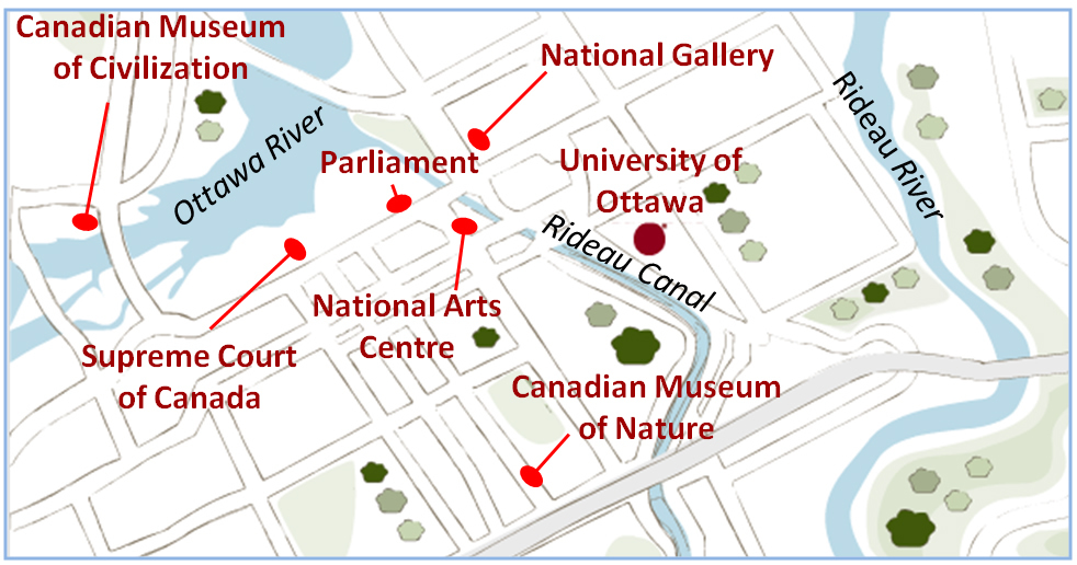 Map of downtown Ottawa showing the University