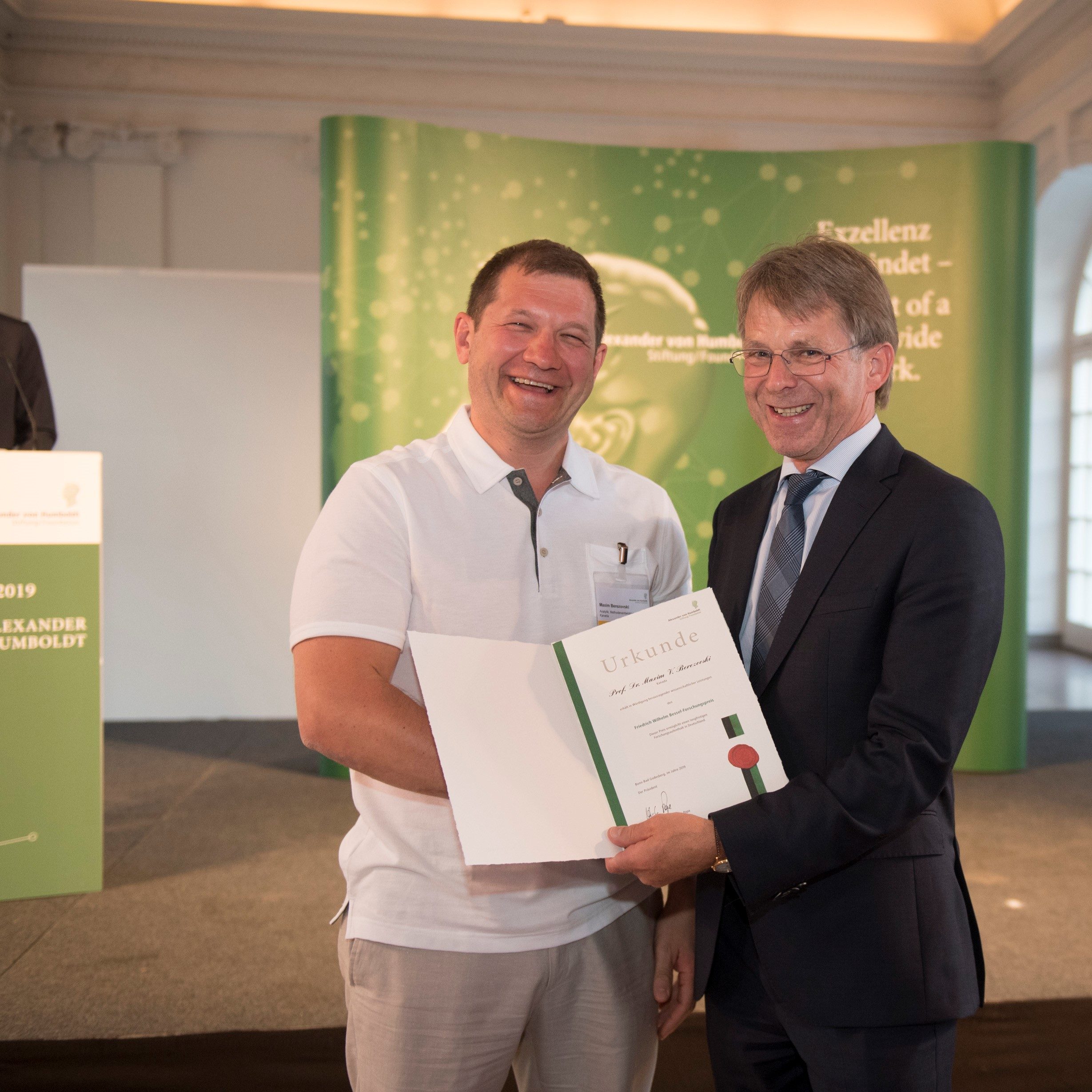 Maxim Berezovski with Professor Pape, President of the Alexander von Humboldt Foundation