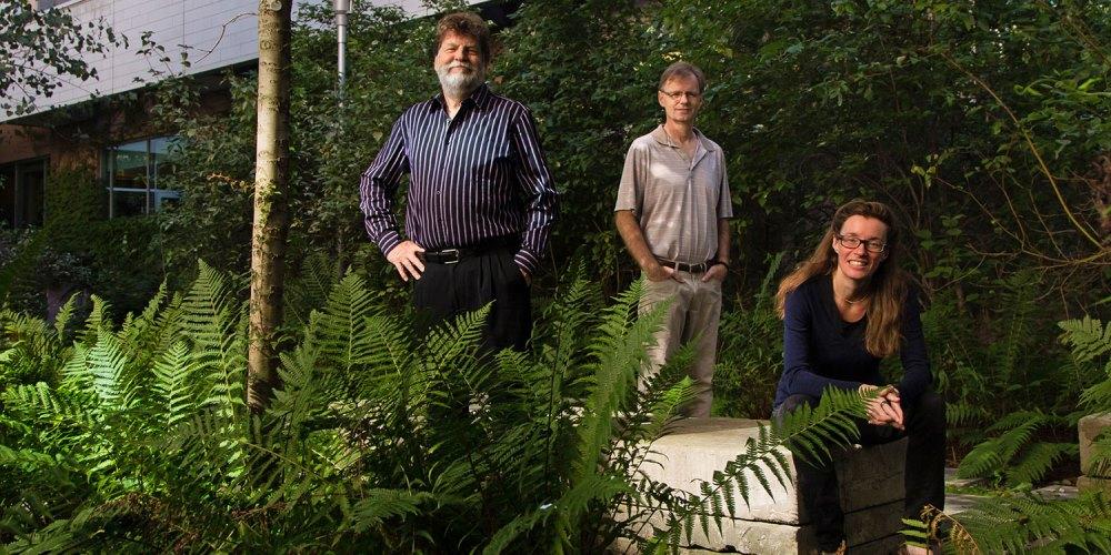De gauche à droite : les professeurs de chimie Tom Baker, Michael Organ et Deryn Fogg du Centre de recherche et d'innovation en catalyse.