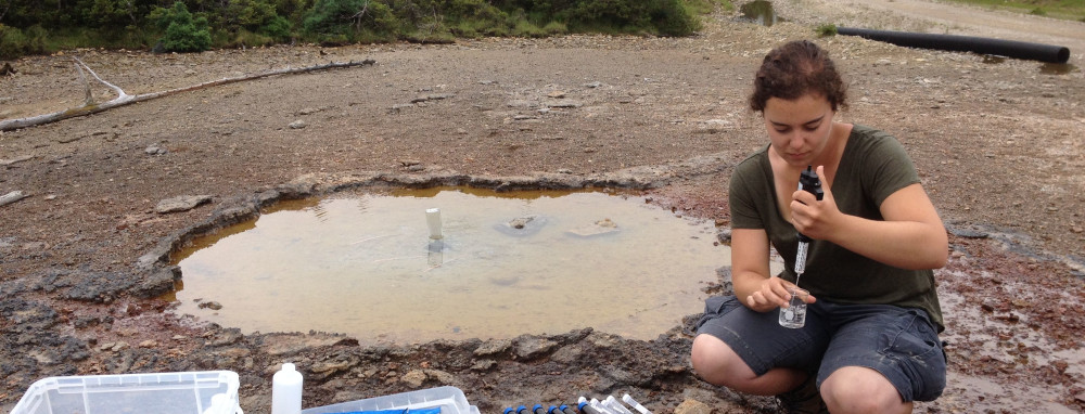 a student takes measurements of a water sample collected from the ground