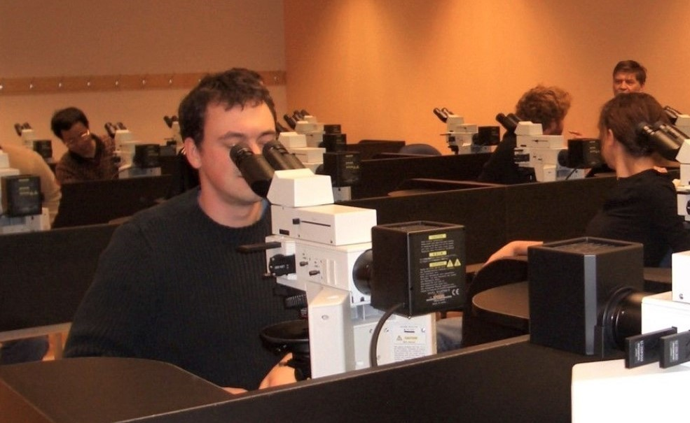 Students look into microscopes in a laboratory classroom. Each student sits at their own workstation, they each have their own microscope.
