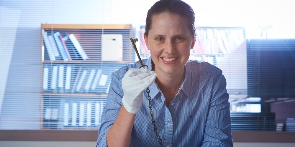 Professor Ann Broadbent holding keys