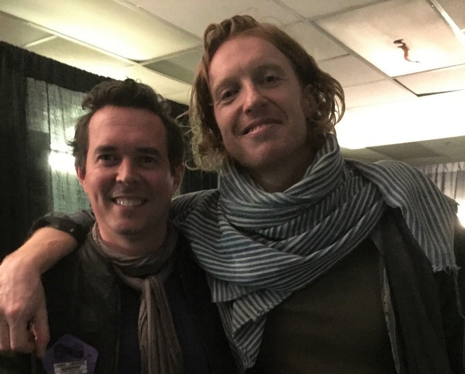 Adam Brown in the studio with Richard Reed Parry