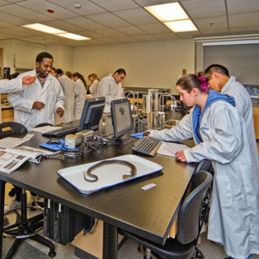 Students gathered around lab benches in a lab course.