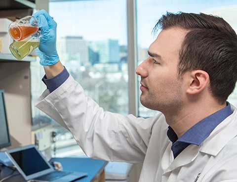 Daniel Grégoire looking into vials