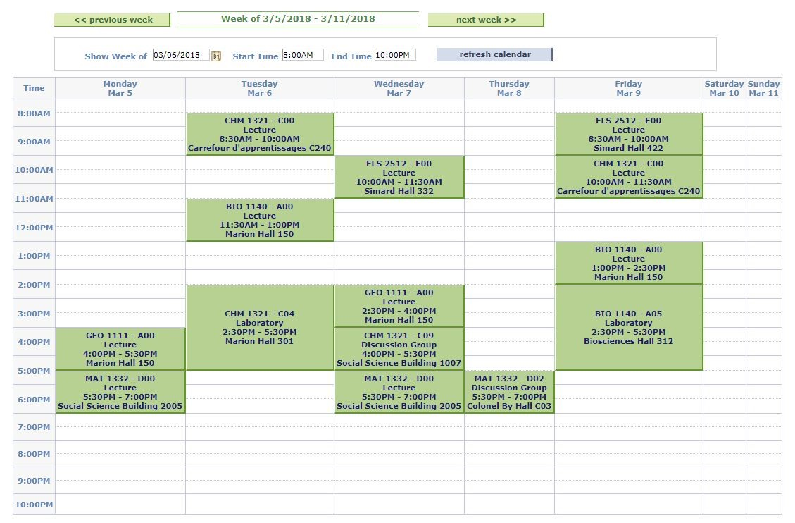 Example of a typical Winter term schedule