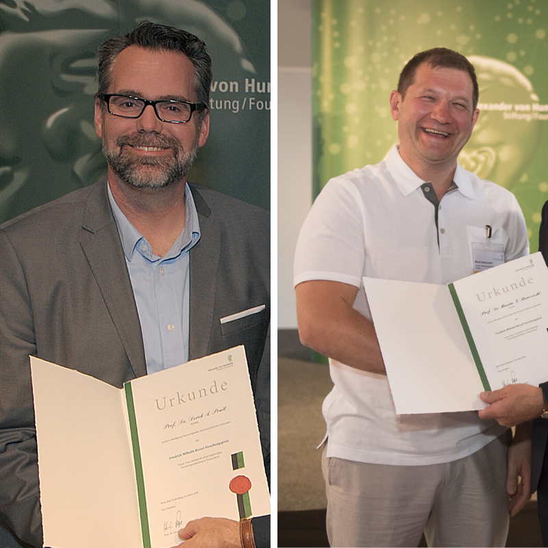 (left) Professor Derek Pratt receives the Friedrich Wilhelm Bessel Prize. (right) Professor Maxim Berezovski poses proudly with his Friedrich Wilhelm Bessel Prize