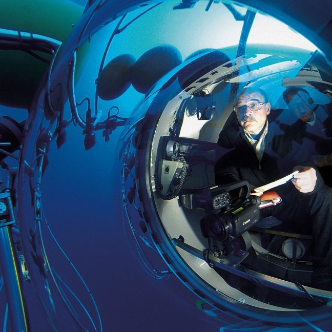 Professor Mark Hannington seated inside the submersible JAGO, a manned underwater vehicle, exploring underwater volcanoes off the coast of the Canary Islands.
