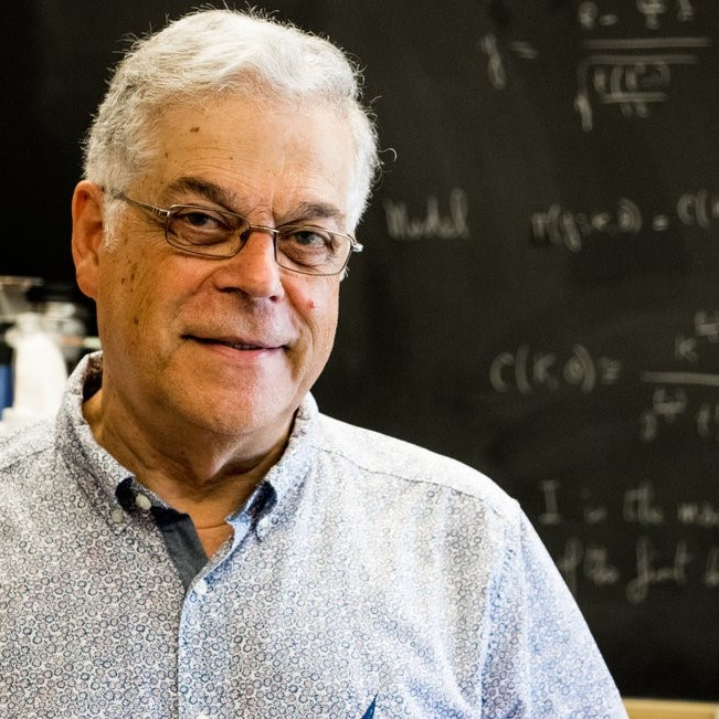 Professor Mayer Alvo in front of a black board with formulas written on it in white chalk