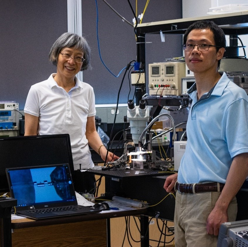 (left to right) Professor Xiaoyi Bao and Postdoctoral Fellow Huibo Fan stand in their laboratory surrounded by a lot of laboratory equipment
