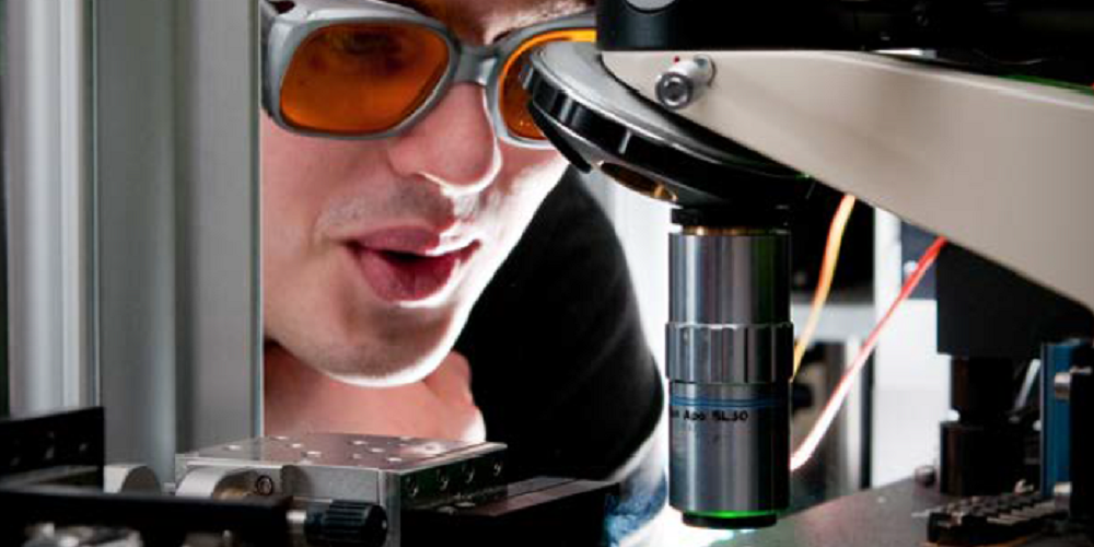Photo of a student working in the lab