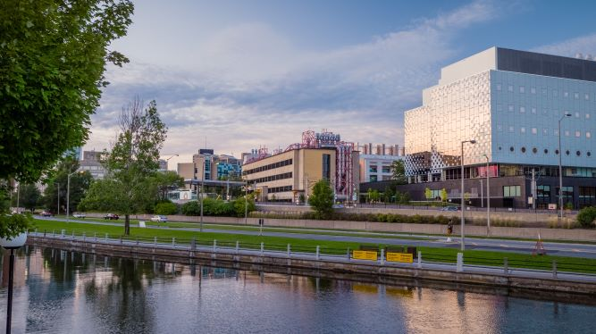 View of campus from the Rideau Canal