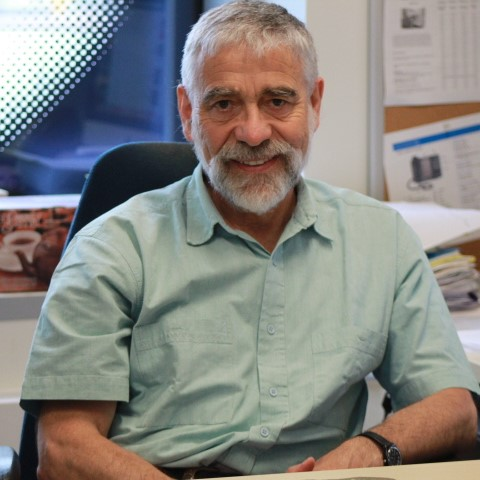 Professor Thierry Giordano is sitting at his desk in his office, and is wearing a short-sleeved light green shirt. There is a window behind him on the left.