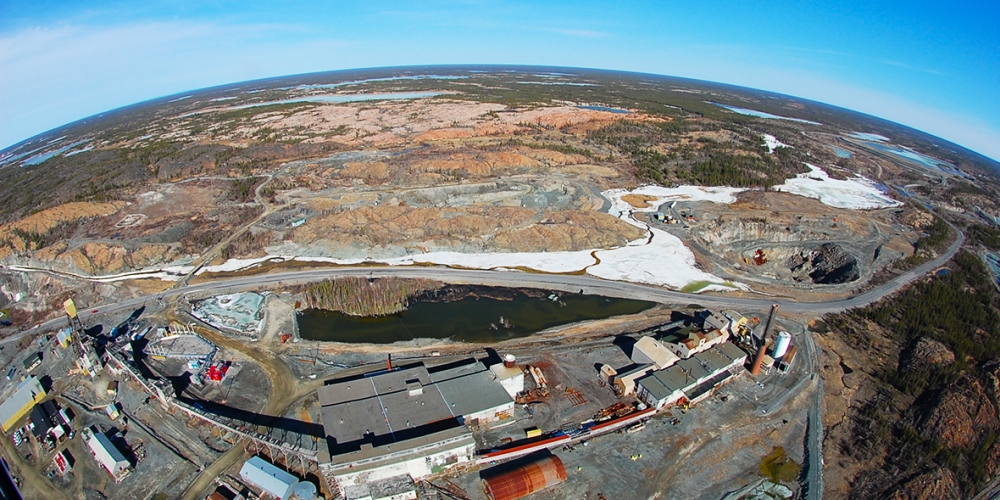 An aerial shot of the Giant Mine, outside Yellowknife, NWT
