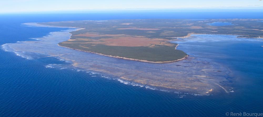 Vue aérienne de l'île d'Anticosti